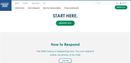 Census page with button respond now link to census website